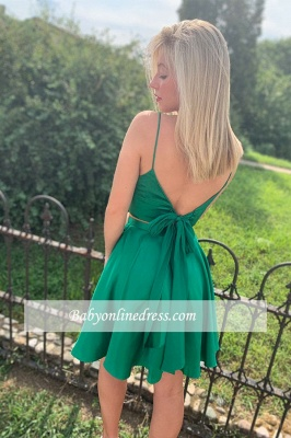 Spaghetti-Straps Two-Pieces A-line Short Homecoming Dresses_2