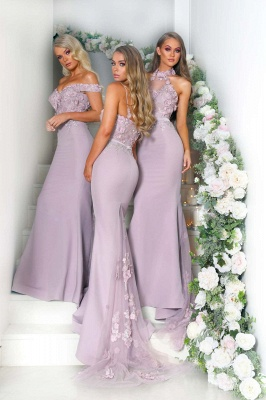Elegant Pink Flowers Bridesmaid Dresses | Off-the-Shoulder Mermaid Maid of the Honor Dresses bc0640_4