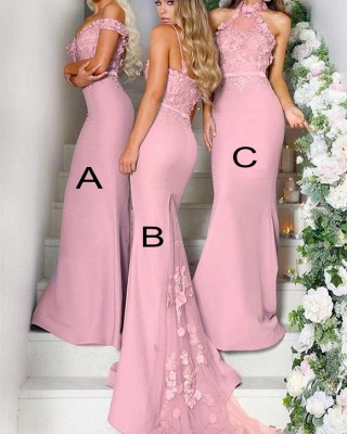 Elegant Pink Flowers Bridesmaid Dresses | Off-the-Shoulder Mermaid Maid of the Honor Dresses bc0640_2
