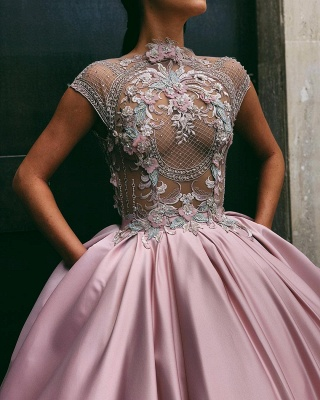Luxury Floral Ball Gown Quinceanera Dress   Jewel Cap Sleeves Appliques Prom Dresses_2