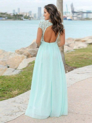 Mint Green Chiffon A-Line Bridesmaid Dresses   V-Neck Cap Sleeves Lace Applique Long Maid Of The Honor Dresses_3