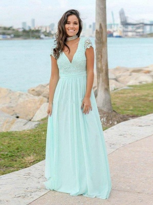 Mint Green Chiffon A-Line Bridesmaid Dresses   V-Neck Cap Sleeves Lace Applique Long Maid Of The Honor Dresses_2