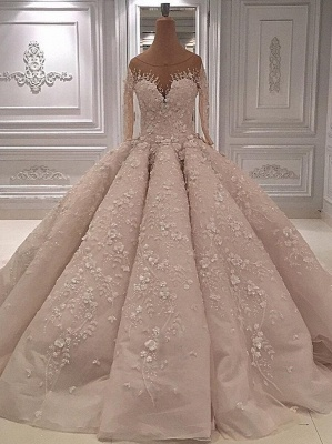 luxury Long Sleeves Ball Gown Wedding Dresses | Sheer Neck Lace Appliques Long Bridal Dresses_1