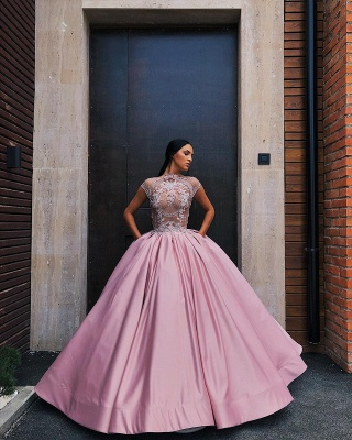 Luxury Floral Ball Gown Quinceanera Dress   Jewel Cap Sleeves Appliques Prom Dresses_4