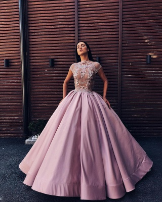 Luxury Floral Ball Gown Quinceanera Dress   Jewel Cap Sleeves Appliques Prom Dresses_3