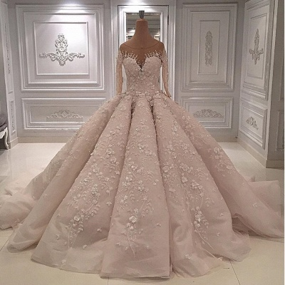 luxury Long Sleeves Ball Gown Wedding Dresses | Sheer Neck Lace Appliques Long Bridal Dresses_2