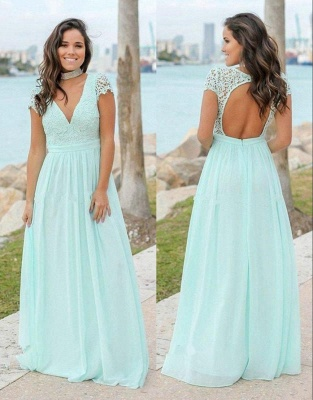 Mint Green Chiffon A-Line Bridesmaid Dresses   V-Neck Cap Sleeves Lace Applique Long Maid Of The Honor Dresses_1