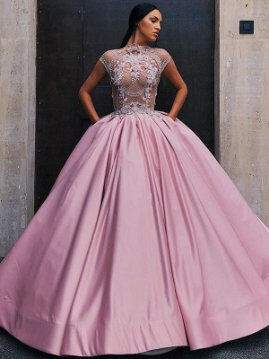 Luxury Floral Ball Gown Quinceanera Dress   Jewel Cap Sleeves Appliques Prom Dresses_1