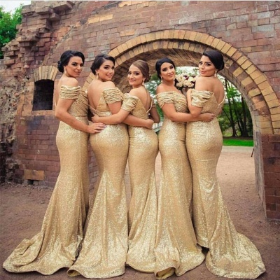 2021 Gold Sequins Bridesmaid Dresses Off the Shoulder Sexy Mermaid Maid of the Honor Dresses BA3186_4