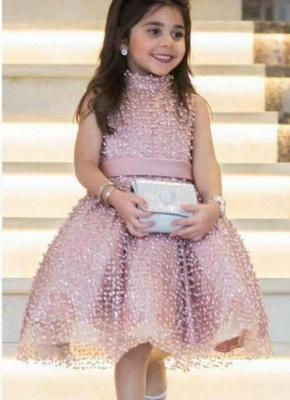 Chic Ball Gown Flower Girl Dresses | High Neck Pearls Short Pageant Dresses_1
