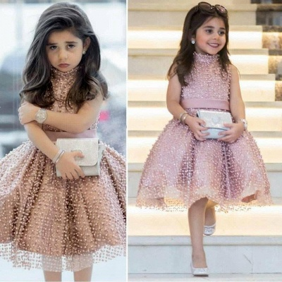 Chic Ball Gown Flower Girl Dresses | High Neck Pearls Short Pageant Dresses_3