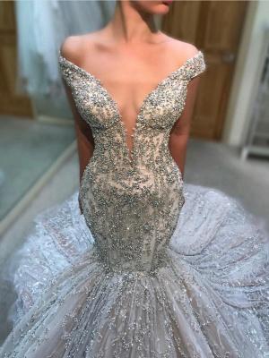 Luxury Beading Mermaid Wedding Dresses   Off The Shoulder Long Bridal Gowns_1