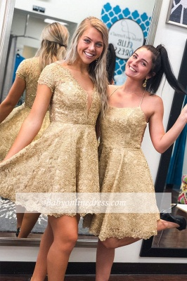 Lace Short Cap-sleeve A-line Homecoming Dresses_1