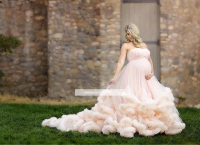 Long Pink Strapless Cloud Pregnant Maternity Wedding Dresses_1