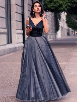 Chic A-Line Prom Dresses | Simple Tulle Evening Dresses_1