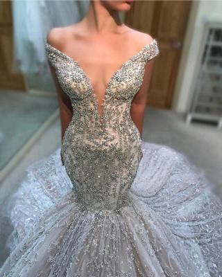 Luxury Beading Mermaid Wedding Dresses   Off The Shoulder Long Bridal Gowns_2