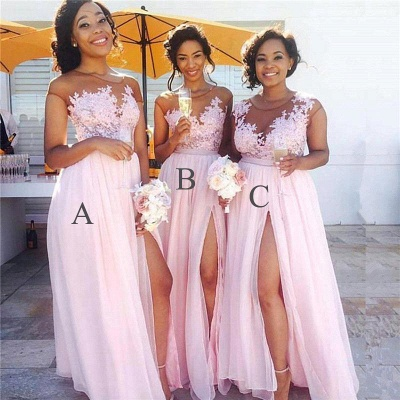 Exquisite Pink Chiffon A-Line Bridesmaid Dresses | Capped Sleeves Side Slit Maid Of The Honor Dresses_2