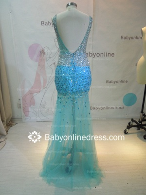 Wholesale 2021 Long Prom Dresses Royal Blue Beaded Crystals Open Back Evening Dress 2945_4