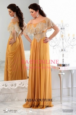 2021 Golden Prom Dresses Elegant Chiffon Appliques Lace Beading Sweetheart Short Sleeves Floor Length Evening Gowns BO35_1