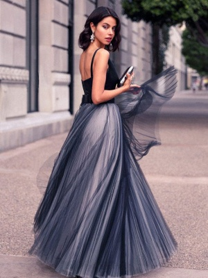 Chic A-Line Prom Dresses | Simple Tulle Evening Dresses_2