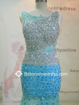 Wholesale 2021 Long Prom Dresses Royal Blue Beaded Crystals Open Back Evening Dress 2945_2