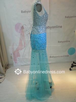 Wholesale 2021 Long Prom Dresses Royal Blue Beaded Crystals Open Back Evening Dress 2945_3