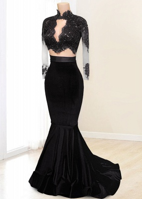 Modest High-Neck Mermaid Prom Dress 2021 Lace-Appliques Long-Sleeve Evening Gowns BA4641_6
