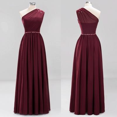 Fashion One-Shoulder A-Line Bridesmaid Dresses | Sleeveless Beaded Chiffon Wedding Party Dresses_5