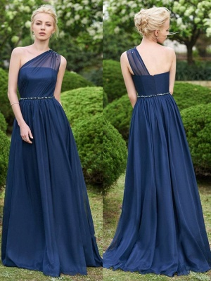 Fashion One-Shoulder A-Line Bridesmaid Dresses | Sleeveless Beaded Chiffon Wedding Party Dresses_1