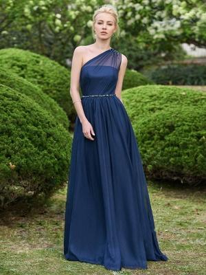 Fashion One-Shoulder A-Line Bridesmaid Dresses | Sleeveless Beaded Chiffon Wedding Party Dresses_2
