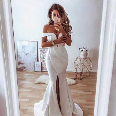 Simple Slit Mermaid Prom Dresses | Off The Shoulder Long Evening Dresses_2