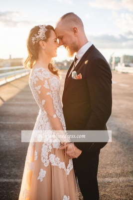 Gorgeous Tulle Lace Long-Sleeve A-Line Evening Dress_4