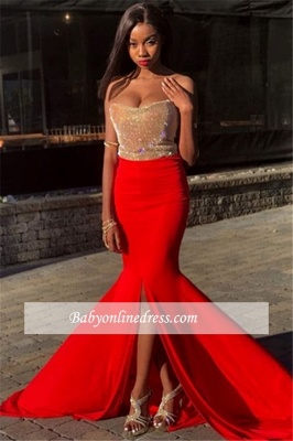 Charming Strapless Sleeveless Prom Dresses | Split-Side Sequins Mermaid Evening Gowns_3