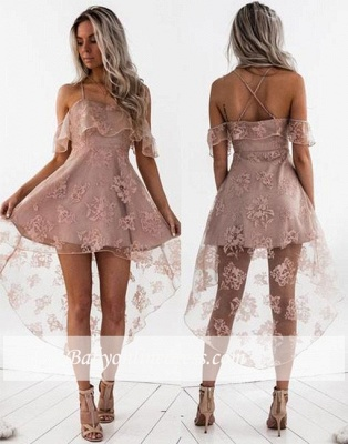Cute A-line Hight-low Short Lace Homecoming Dress_1