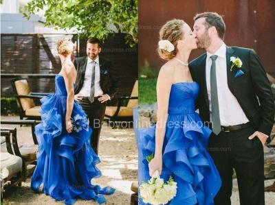Royal Blue Hi-lo Ruffles Wedding Dresses Strapless Neck Bridal Gowns_3