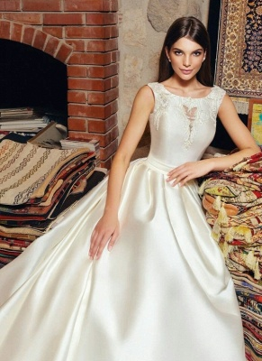 Glossy A-line Wedding Dresses | Vintage Sleeveless Open Back Bridal Gowns_1