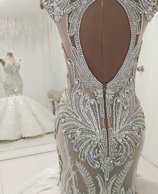 New In Crystals Mermaid Wedding Dresses | Capped Sleeves Open Back Bridal Gowns BC0502_3