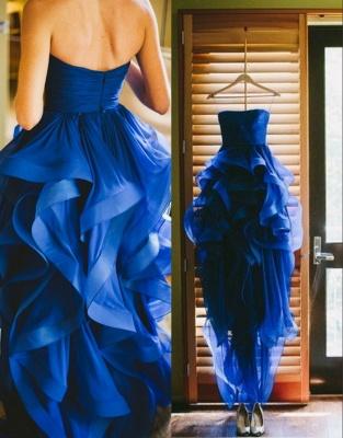 Royal Blue Hi-lo Ruffles Wedding Dresses Strapless Neck Bridal Gowns_1