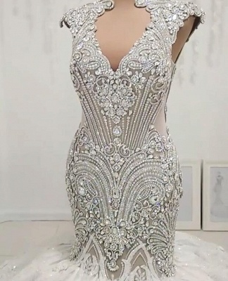 New In Crystals Mermaid Wedding Dresses | Capped Sleeves Open Back Bridal Gowns BC0502_1