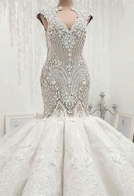 New In Crystals Mermaid Wedding Dresses | Capped Sleeves Open Back Bridal Gowns BC0502_5