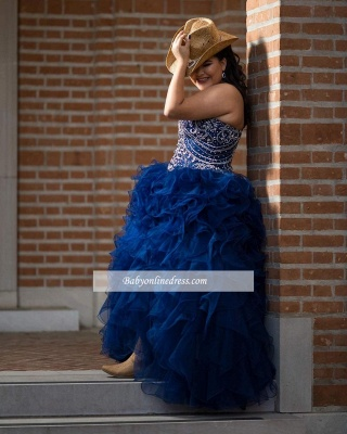 Wonderful Ball-Gown Strapless Beaded Ruffles Sweetheart Quince Dresses_4