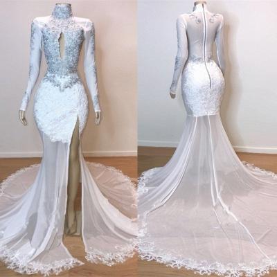 White High Neck Mermaid Prom Dresses | Long Sleeves Slit Evening Gowns_2