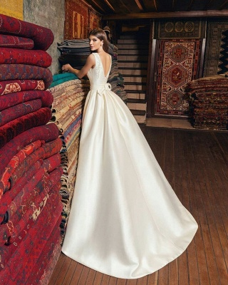 Glossy A-line Wedding Dresses | Vintage Sleeveless Open Back Bridal Gowns_3