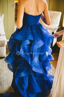 Royal Blue Hi-lo Ruffles Wedding Dresses Strapless Neck Bridal Gowns_2