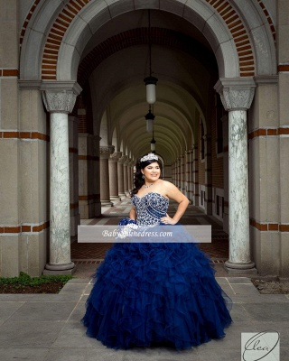 Wonderful Ball-Gown Strapless Beaded Ruffles Sweetheart Quince Dresses_3