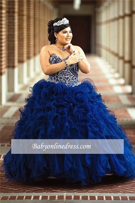 Wonderful Ball-Gown Strapless Beaded Ruffles Sweetheart Quince Dresses_5