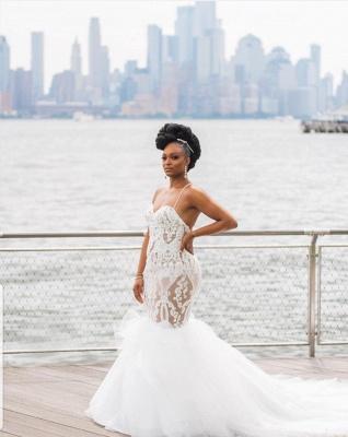 Glamorous Lace Mermaid Wedding Dresses   Spaghetti Straps Long Tulle Bridal Gowns_2