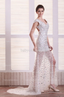 Special Design Sexy Prom Dresses Online Wholesale V-Neck Beaded Rhinestone Gowns For Sale BO0708_5