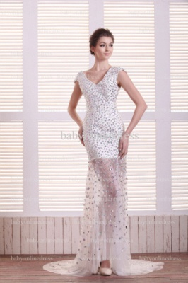 Special Design Sexy Prom Dresses Online Wholesale V-Neck Beaded Rhinestone Gowns For Sale BO0708_1