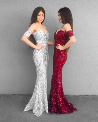 Glittering Off-the-Shoulder Prom Dresses | Sequins Mermaid Long Evening Gowns BC1359_3
